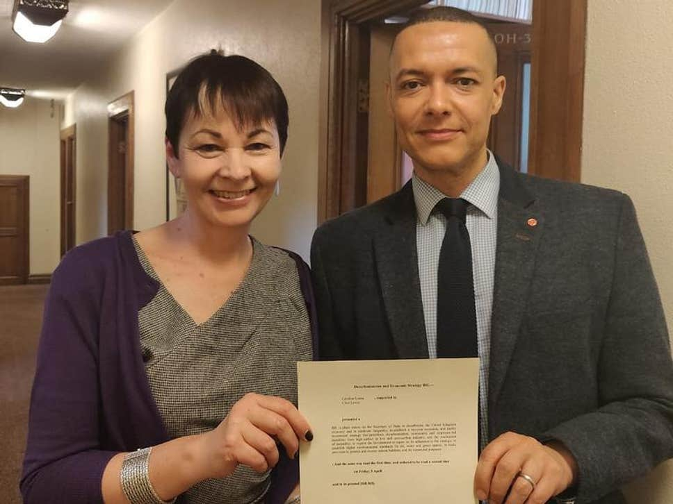 Caroline Lucas and Clive Lewis with the Green New Deal bill